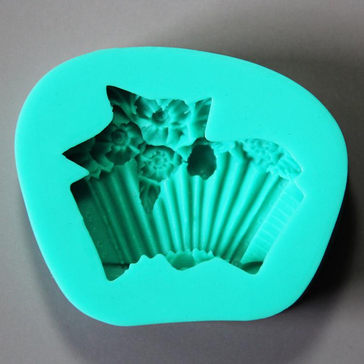 HB0924 New Basket flowers silicone cake decoration fondant mold