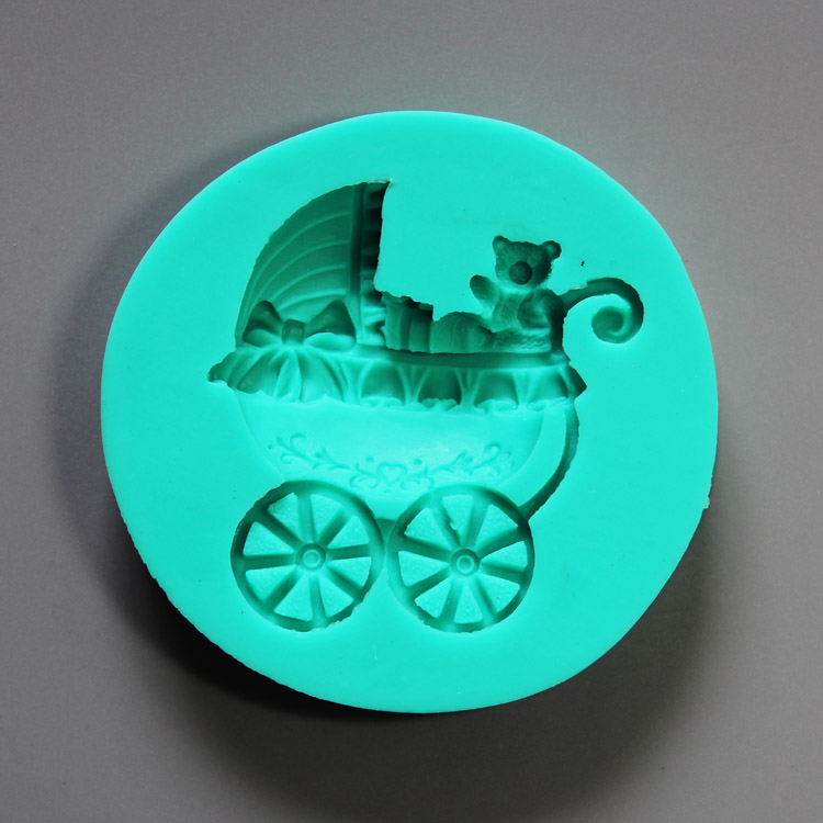 HB0842 Baby carriage silicone mold for cake fondant decoration
