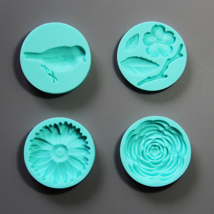 HB0781 4pcs flowers and birds silicone mold for cake fondant decorating
