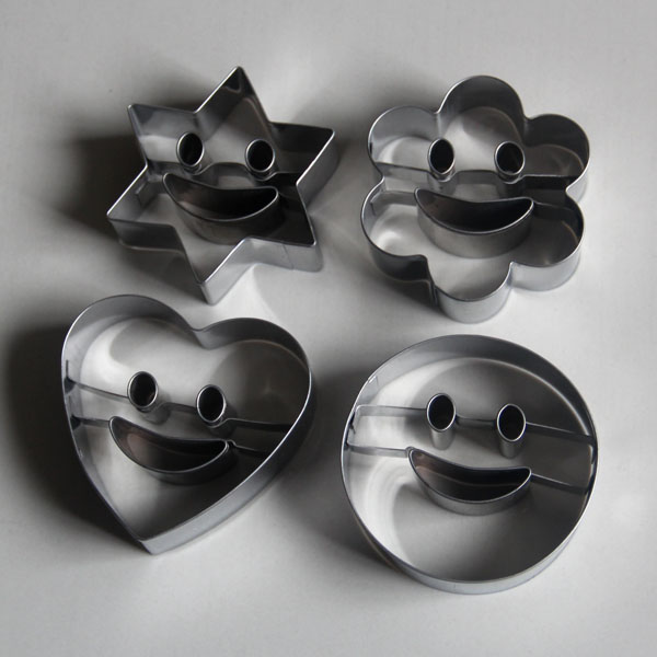 HB0434 Fashion 4pcs Metal Smile Faces Cutout Cookie Cutter set