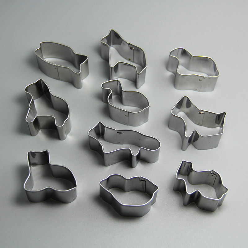 HB0218 Metal 10pcs Animal Shaped cookie cutter set