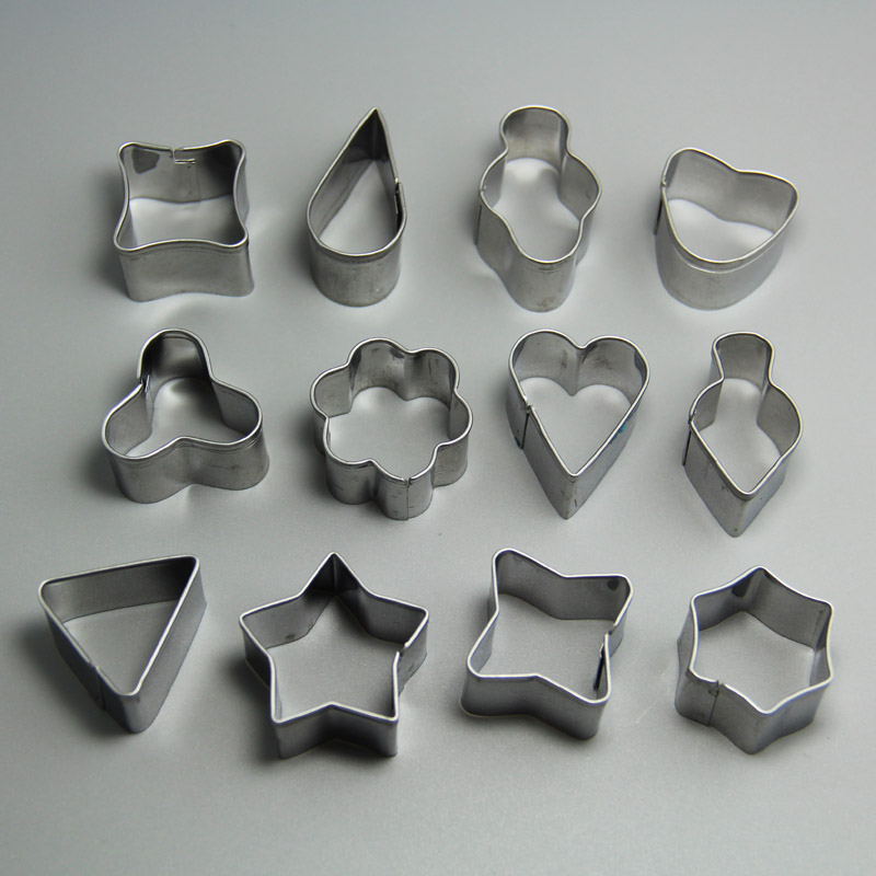 HB0220 12pcs Metal Geometric Shaped cookie cutter set