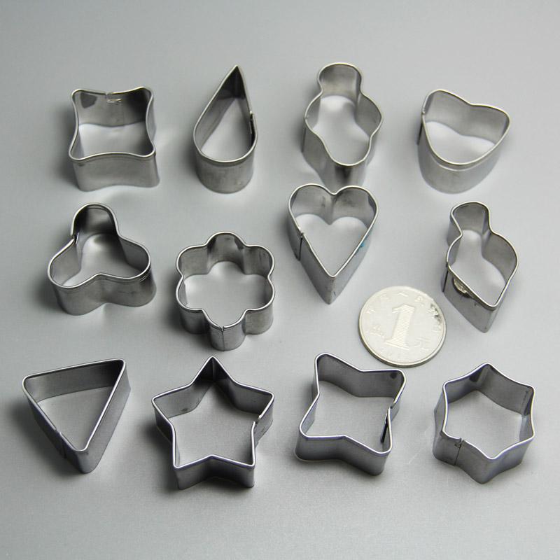 HB0220 12pcs Metal Geometric Shaped cookie cutter set