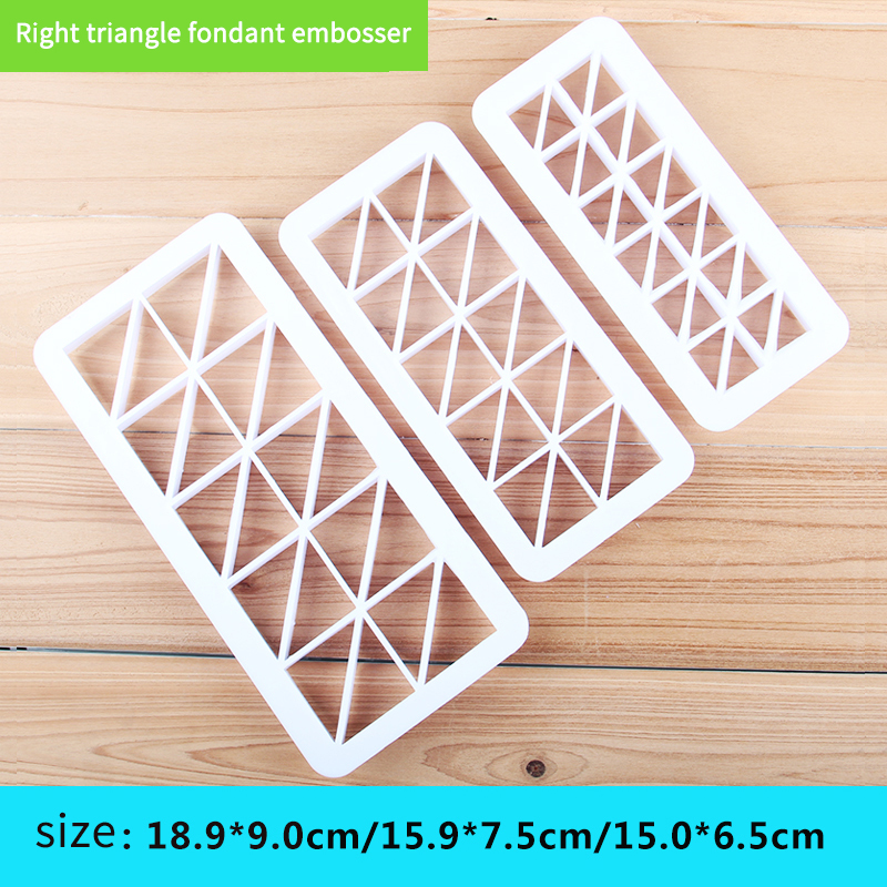 HB0177D Plastic 3pcs Right triangle fondant embosser set