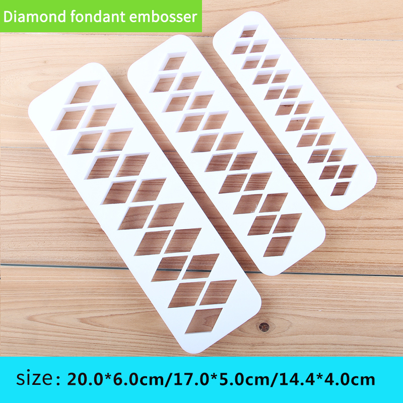 HB0177E Plastic 3pcs Diamond fondant embosser set