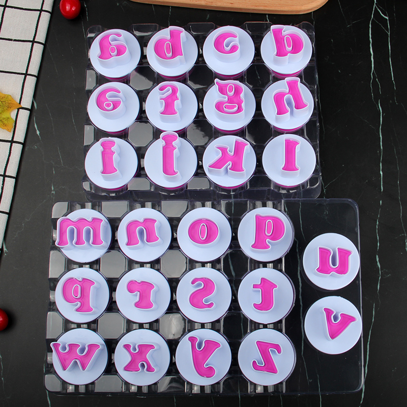 HB0215C Plastic 26pcs Big size Lowercase letters cookie stamps/molds set