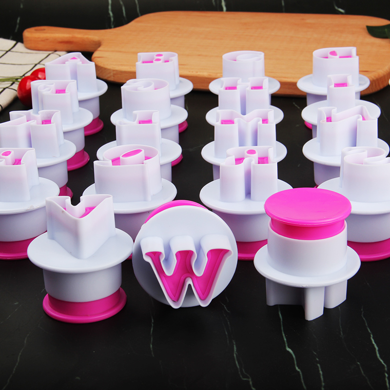 HB0215D 26pcs Plastic Big size Uppercase letters cookie stamps/molds set