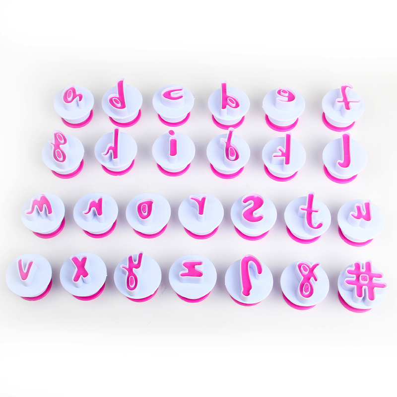 HB0215I Plastic 26pcs Lowercase Alphabet cookie stamps set