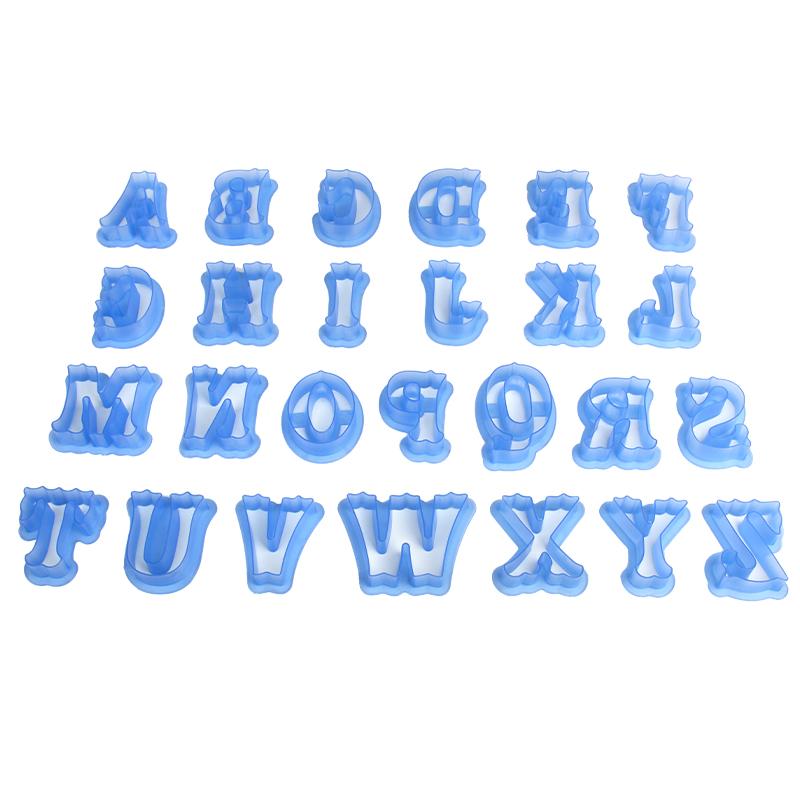 HB0215L Plastic New Design Big Size 26pcs Uppercase Alphabet cookie stamps set