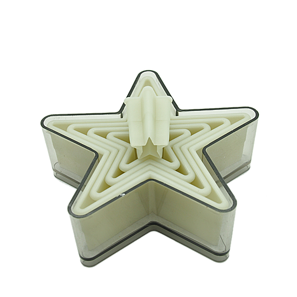 HB0290 5pcs star shape cutters with plain edge baking mold