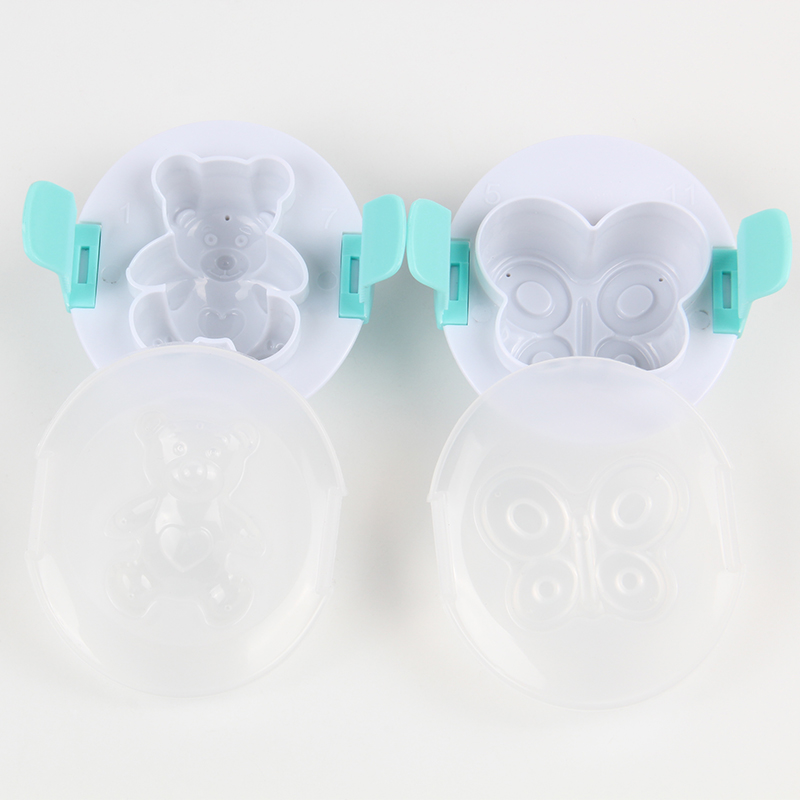 HB0310C Plastic Butterfly&Bear Shape Fondant Chocolate Eggs Multifunction Pressing Mold