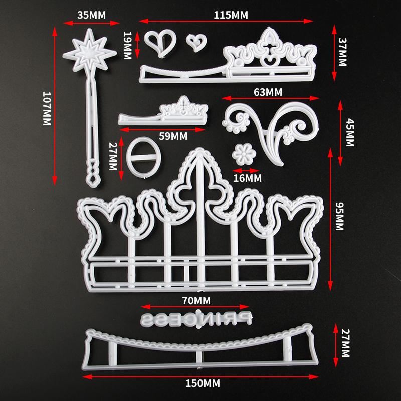 HB0311A Plastic Crown Shape Fondant Press Molds set