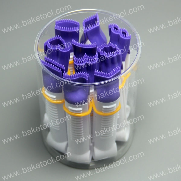 HB0350B  Plastic 10pcs large size purple color crimper of variety shape box with teeth