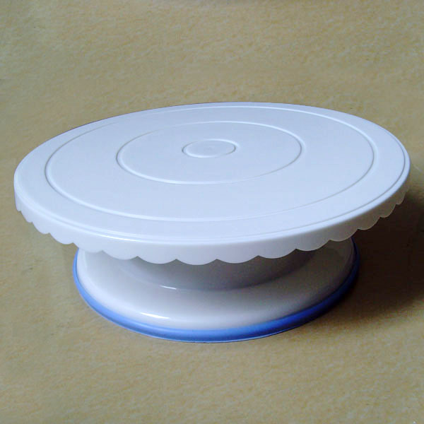 "HB0363 Plastic 11.5x4"" Cake Turntable Rotating Stand"