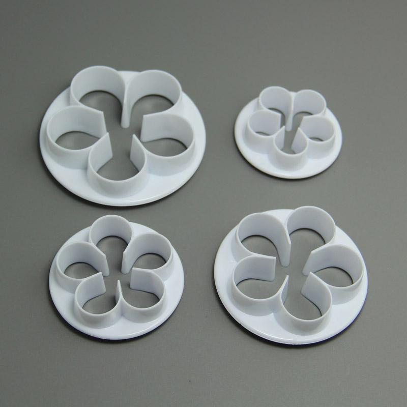 HB0368 Plastic Rose leaf Shaped cookie cutters set biscuit mold fondant embosser