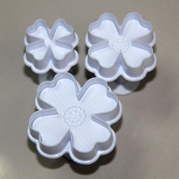 HB0399 Plastic 3pcs leaf colver plunger cake fondant mold set