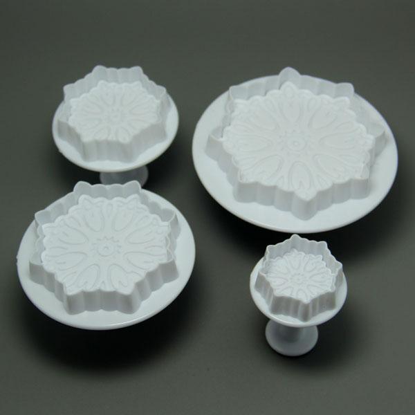 HB0527 Plastic 4pcs Different Size Calyx Cake Fondant Mold set