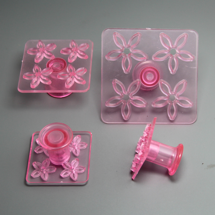 HB0753 Plastic 4pcs 5petals daisy impressing embosser mold set chocolate mold