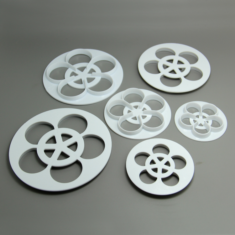HB0765 Plastic 6pcs hollow roses cookie cutter set