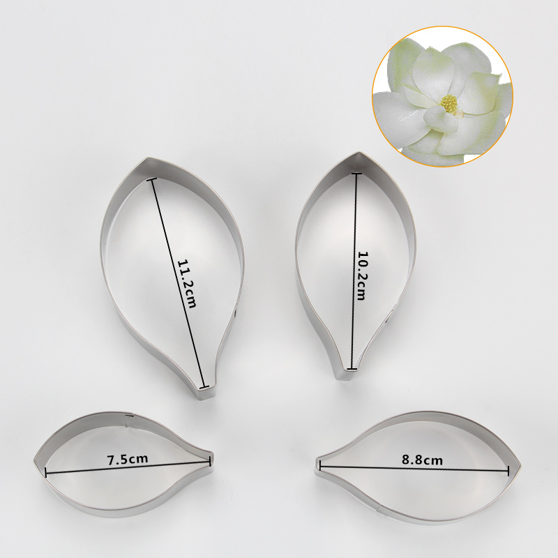 HB0958L 4pcs Stainless Steel Different Flowers and Leaves Shape Cookie Cutters set