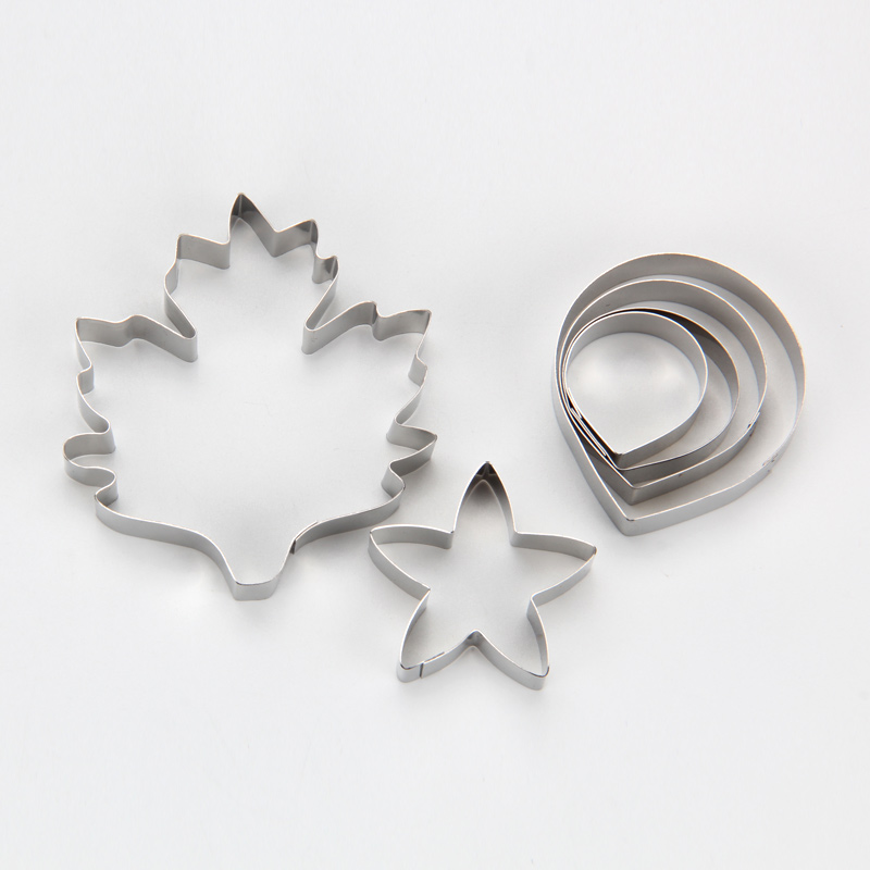 HB0958O Mini 6pcs Stainless Steel Different Flowers and Leaves Shape Cookie Cutters set