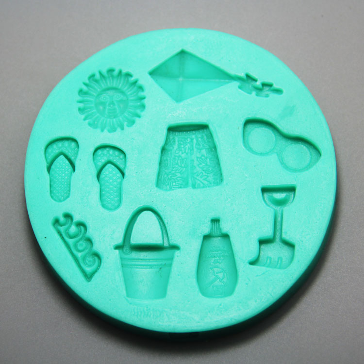 HB0967 Beach theme  silicone mold for cake fondant decorating