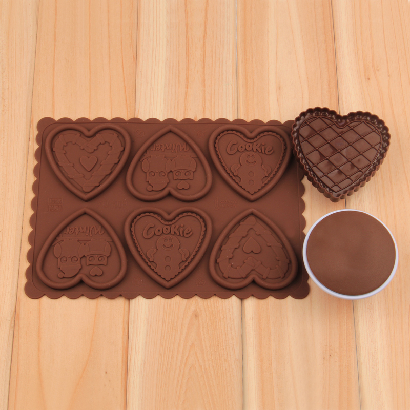 HB1047  love heart silicone cookie embosser mold set