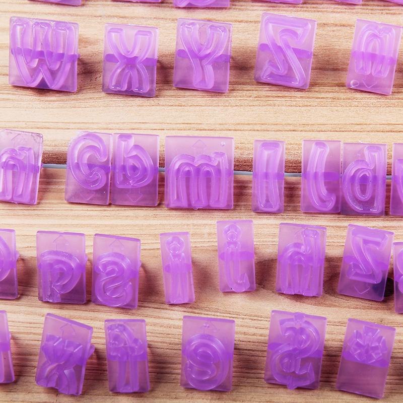 HB1060J New Plastic 64PCS letters symbols cookie cutters fondant embosser set