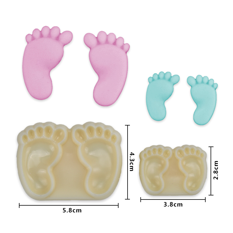 HB1067C Plastic 2pcs mini baby feet shape mould fondant pastry embosser set