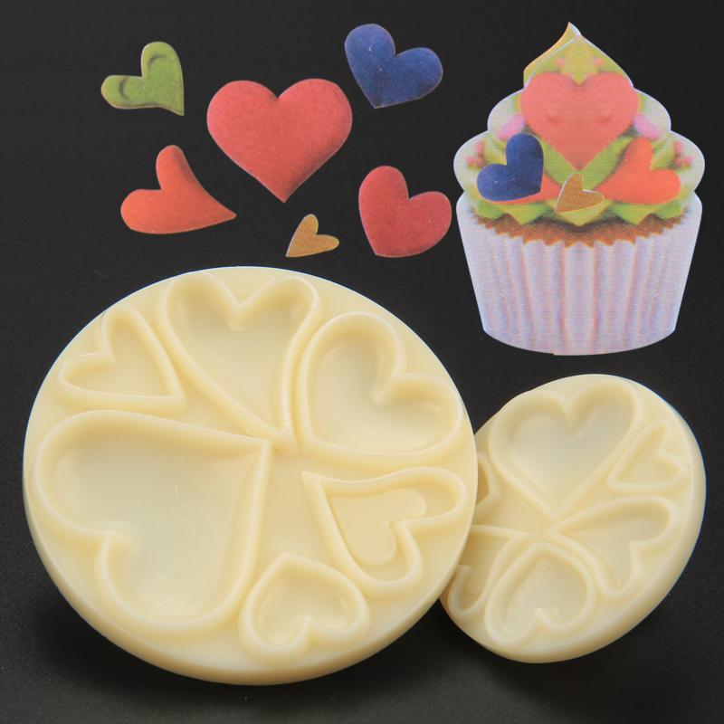 HB1067  Plastic 2pcs hearts mould fondant pastry embosser set