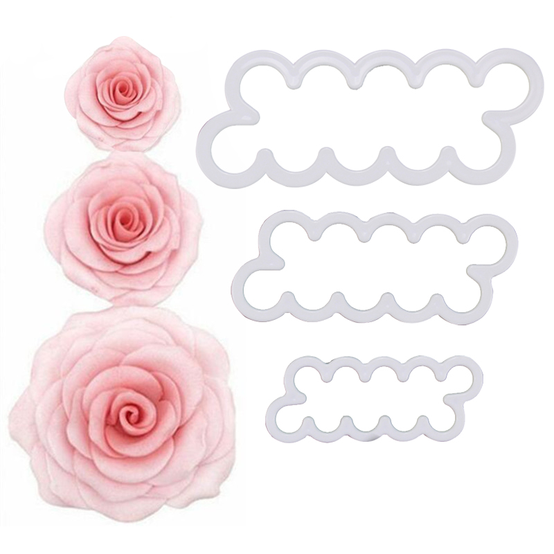 HB1073   Plastic 3pcs rose shape Cake Fondant/Cookie mold set