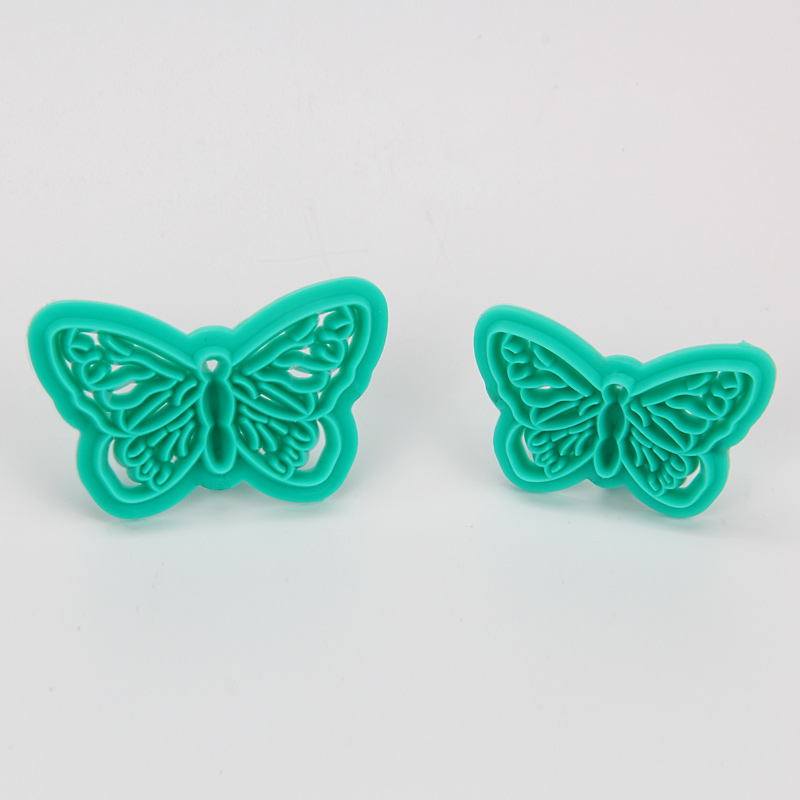 HB1094A New Plastic 2pcs Butterfly Shape Cake Fondant Press Mold set(Style A)