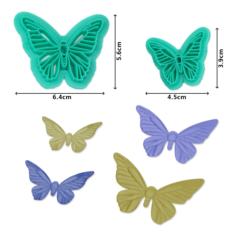 HB1094B New Plastic 2pcs Butterfly Shape Cake Fondant Press Mold set(Style B)