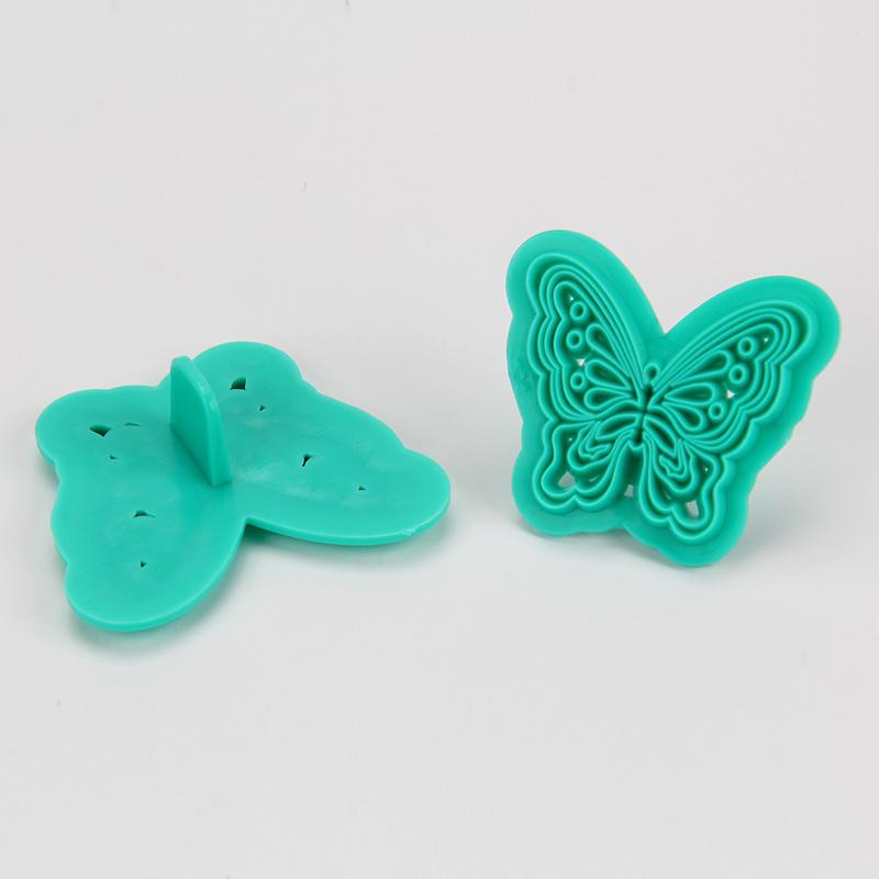 HB1094C New Plastic 2pcs Butterfly Shape Cake Fondant Press Mold set(Style C)