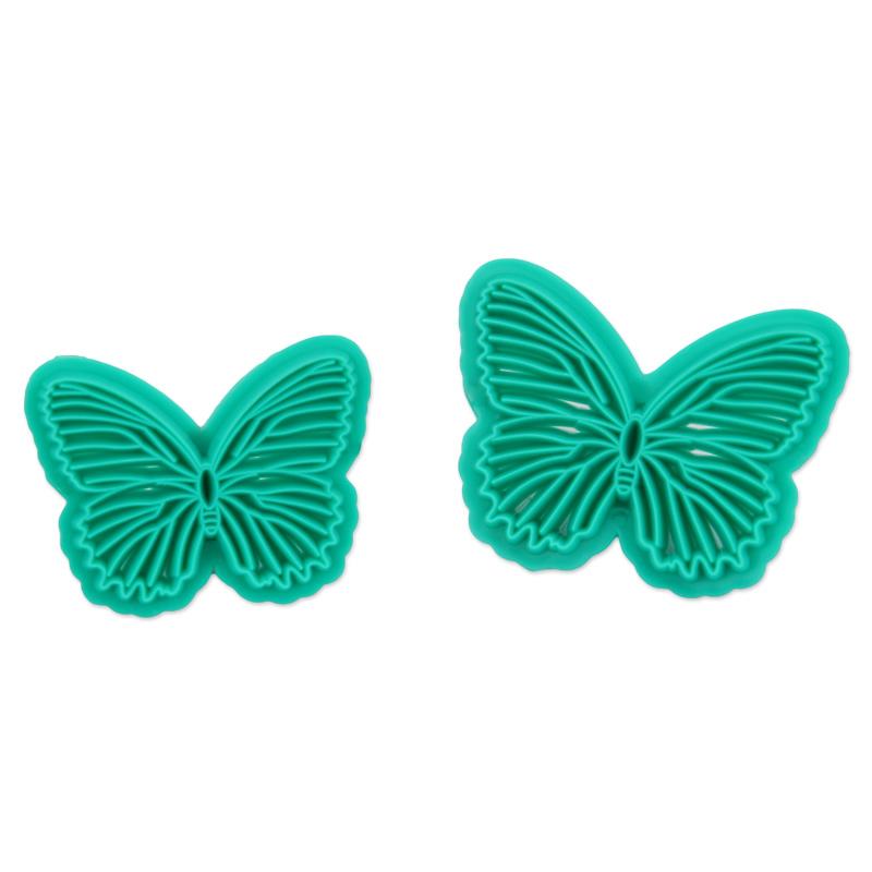 HB1094D New Plastic 2pcs Butterfly Shape Cake Fondant Press Mold set(Style D)