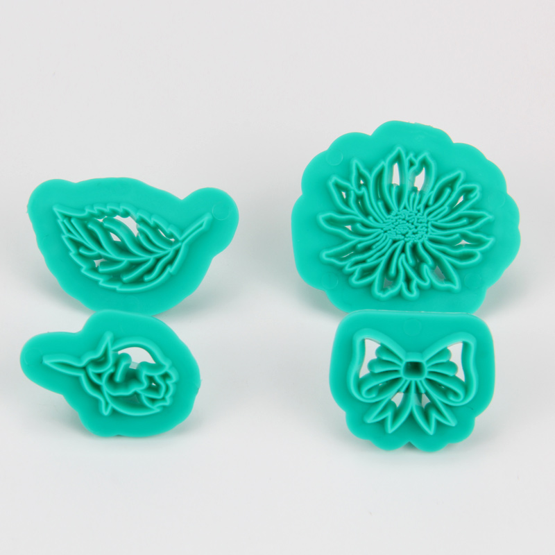 HB1094E Plastic 4pcs Flower&Leaf Shape Cake Fondant Press Mold set(Style E)