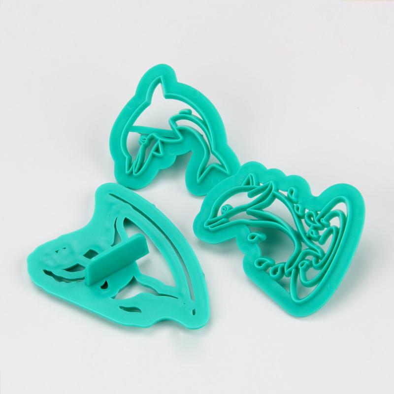HB1094G Plastic 3pcs Horse&Dolphin Shapes Cake Fondant Press Mold set(Style G)