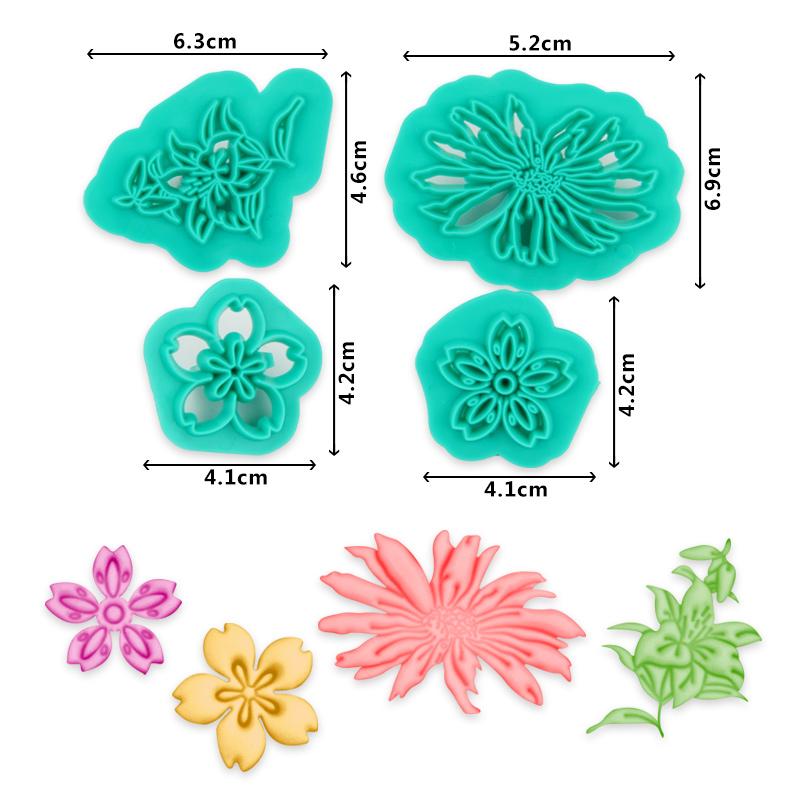 HB1094H Plastic 4pcs Flowers Shapes Cake Fondant Press Mold set(Style H)