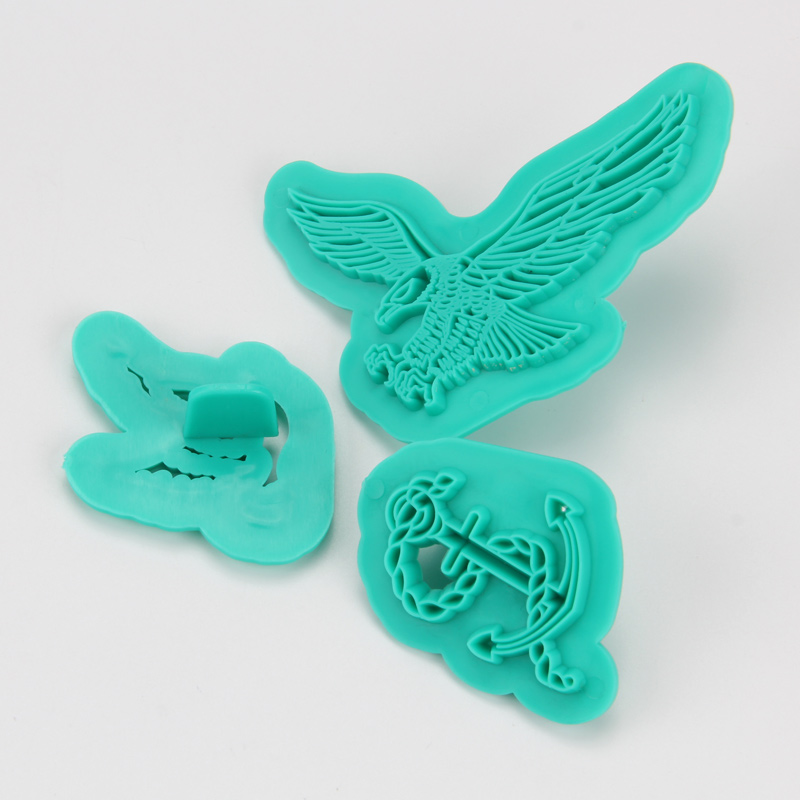 HB1094I Plastic 3pcs Birds&Anchor Shape Cake Fondant Press Mold set(Style I)