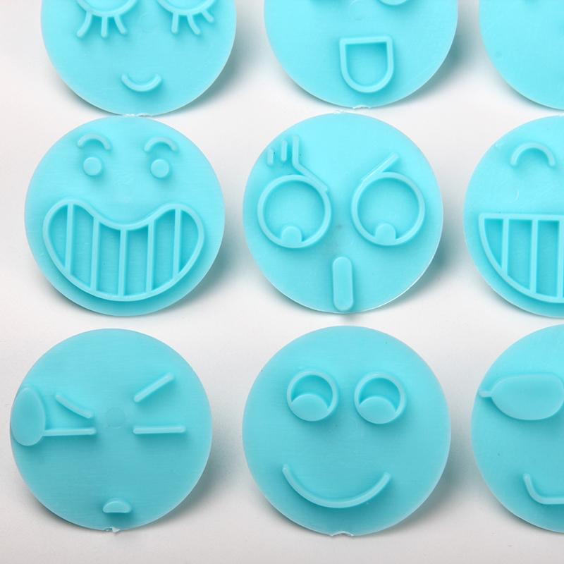 HB1094N Plastic 12pcs Emoticon Theme Shapes Cake Fondant Press Mold set