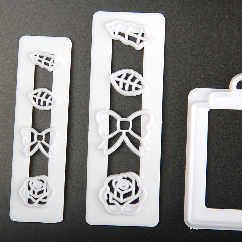 HB1099S Plastic Rose,Bow,Leaves Shape Cake Fondant Press Cookie Cutters Decoration Molds set