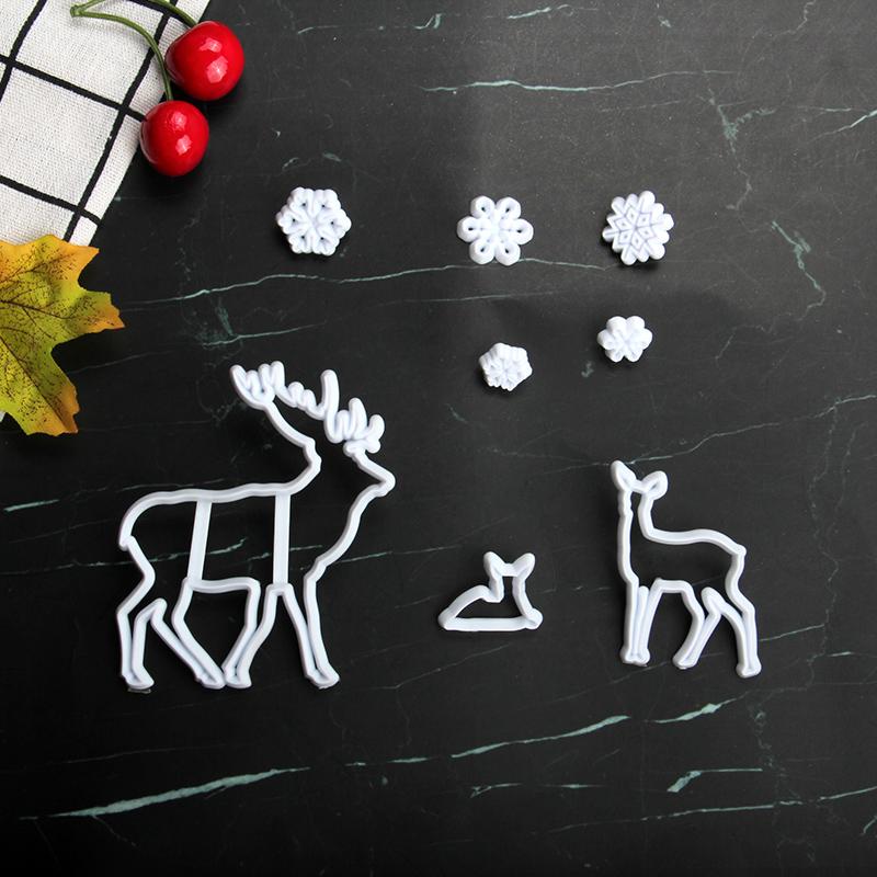 HB1101L Plastic Deer&Snowflake Shapes Cake Fondant Press Mold set