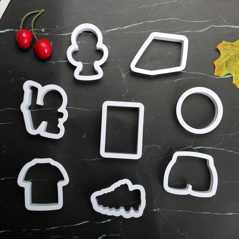 HB1101R Plastic Football Series Shape Cake Fondant Press Molds set