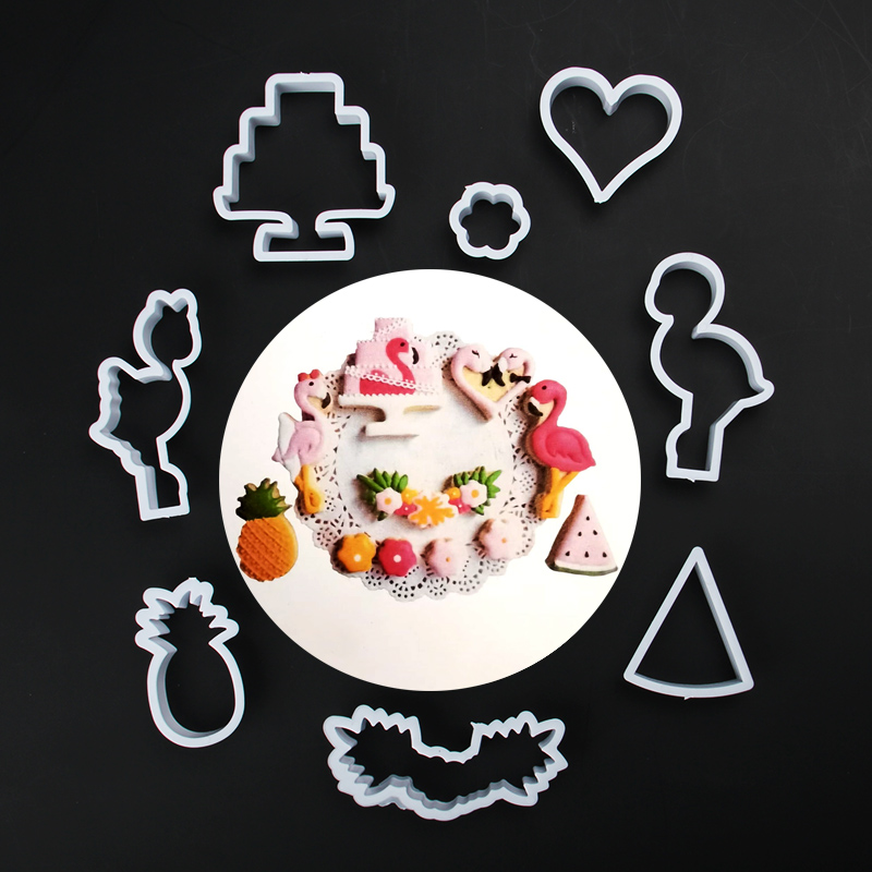 HB1101W Plastic Flamingo Series Shapes Cake Fondant Press Molds set
