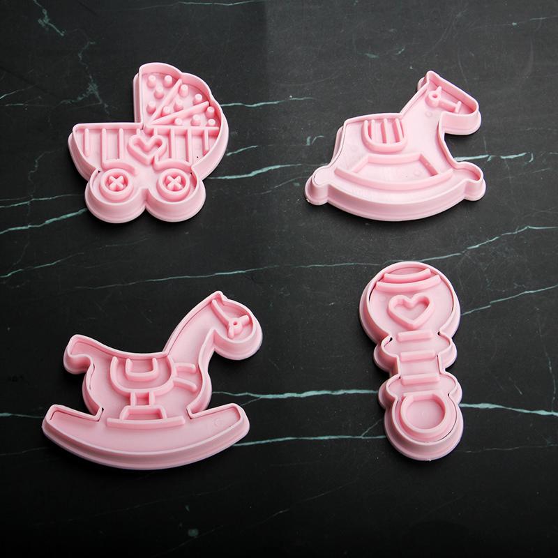 HB1101Y Plastic Baby Car Trojan Horse Series Shapes Cake Fondant Press Molds set