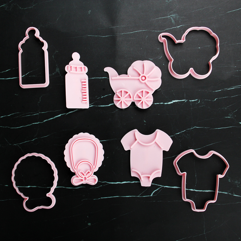 HB1101Z Plastic Baby Bottle Clothes Series Shapes Cake Fondant Press Molds set