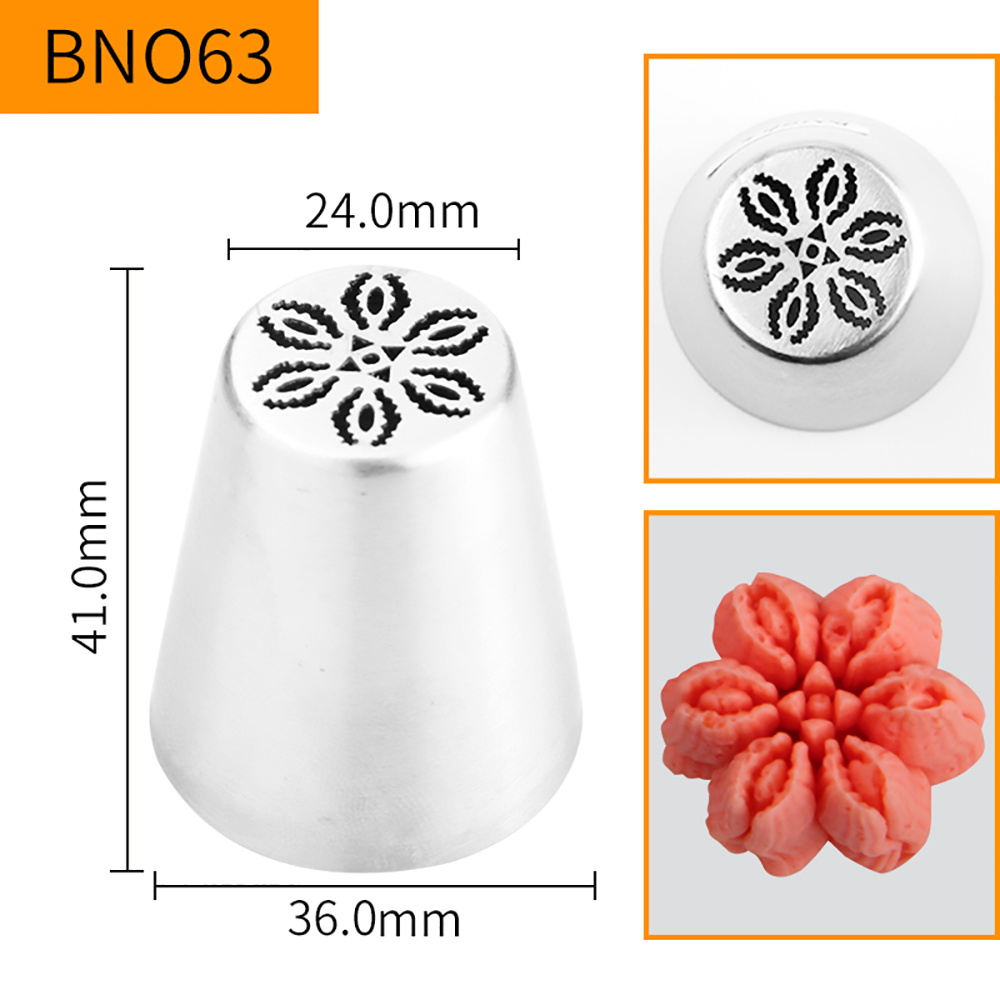 HBBNO63 FDA High Quality Stainless steel 304 Cake Decorating Flower Icing Nozzle