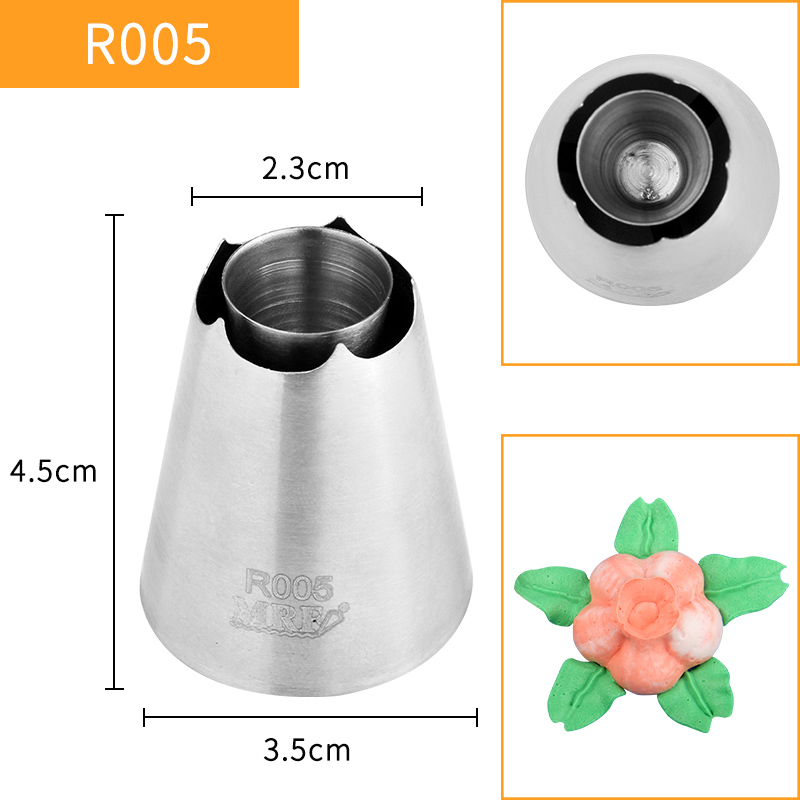 HBR005 FDA High Quality Stainless Steel304 Cake Decorating 5Petals Flower Pastry Icing Nozzles