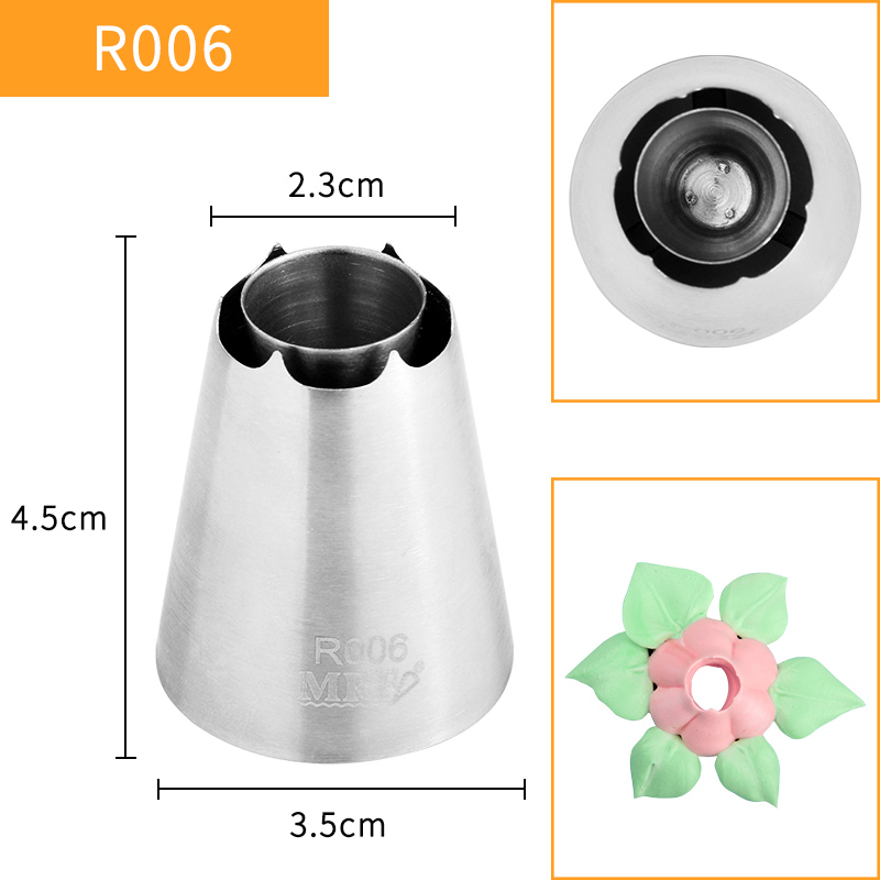 HBR006 FDA High Quality Stainless Steel304 Cake Decorating 6Petals Flower Pastry Icing Nozzles