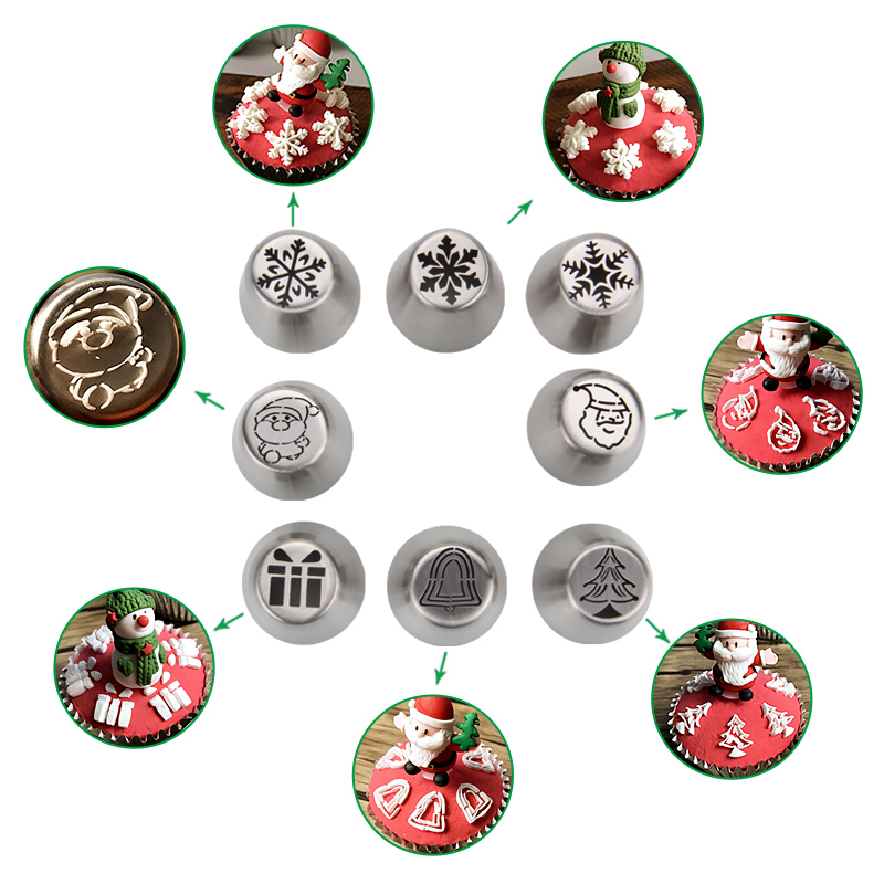 HBXM01 New Stainless steel Christmas Theme Russian Tips(Gift box)